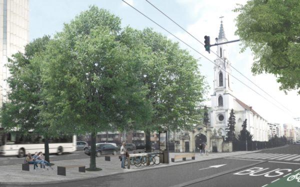 FOTO | Se modernizează Bulevardul 21 Decembrie din Cluj-Napoca. Proiectul prevede benzi de autobuze și biciclete, dar și piațetă în fața Bisericii Sfântu Petru
