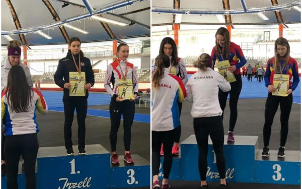 Raluca Ștef și Fuzesy Ilka, patinatoare la Universitatea Cluj, au obținut 9 medalii la Campionatul Național, dintre care 6 de aur