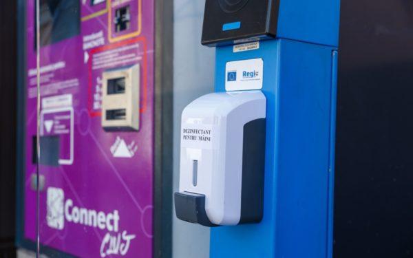Dispensere cu dezinfectant pentru mâini în stațiile CTP și în piețele agroalimentare din Cluj-Napoca